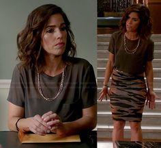 Marisol's grey silk tee and zebra print skirt on Devious Maids. Outfit Details: http://wornontv.net/34840/ #DeviousMaids