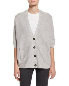 W0E9X Brunello Cucinelli Ribbed Dolman-Sleeve Cardigan, Pebble