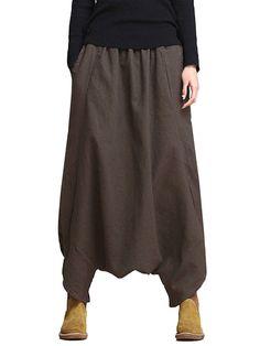 Loose Casual Solid Elastic Waist Pockets Harem Pants For Women