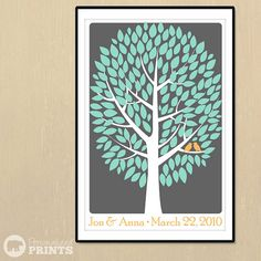 Signature Guestbook Poster guest sign the leaves, several color options available