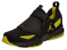 NIKE Men's Jordan Jumpman Trunner 11 LX Sneaker Shoes-Black/Yellow Item Features: Velcro closure Toe Ventilation Jumpman on sides Air Bubble in heel Lightweight Basketball shoes Heel Loop and tongue hoop to pull on shoes Lightly Padded Tongue
