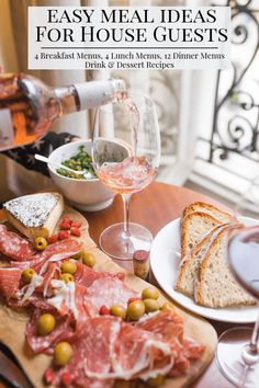 A stress-free guide when you are planning for house guests. 20 MENU IDEAS w/ RECIPES: 4 breakfast, 4 lunch, & 12 dinner menus. Drink & dessert recipes too. Lunch Menu, Dinner Menu, Wine Dinner, Dinner Table, Wine Recipes, Dessert Recipes, Top Recipes, Breakfast Menu, Breakfast Meaning