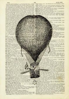 vintage book page - balloon