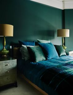 Green and Blue Bedroom - Green and Blue Bedroom, Blue Green and White Bedroom the Chronicles Of Home Green Rooms, Bedroom Green, Master Bedroom, Green Walls, Master Suite, White Bedroom, Kids Bedroom, Emerald Bedroom, Bedroom Wardrobe
