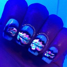 Glow in the dark feather nails!
