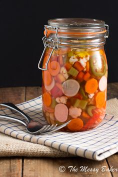 Hot & Spicy Giardiniera | www.themessybakerblog.com -  easy to do...can skip the canning part and simply refridgerate