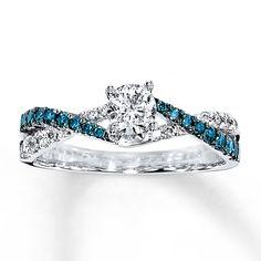 Blue/White Diamond Ring 3/4 ct tw Round-cut 14K White Gold $1475