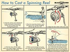 how to cast a spinning reel fishing tips illustration Bass Fishing Lures, Bass Fishing Tips, Best Fishing, Fishing Tackle, Fly Fishing, Fishing Tricks, Crappie Fishing, Fishing Rods, Fishing Basics