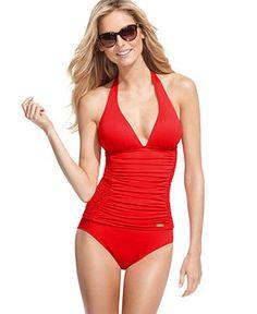 DKNY Swimsuit, Halter Ruched Tankini Top & Classic Brief Bottom - Womens Shop Junior Swim - Macy's