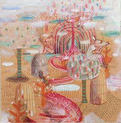 En la copa Collage on paper, mirella musri Www.facebook.com/mirellamusriillustration