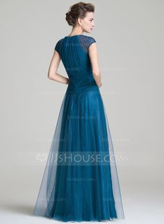 A-Line/Princess Scoop Neck Floor-Length Tulle Mother of the Bride Dress With Ruffle (008072703)
