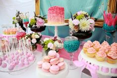 Pretty Pink & Turquoise Dessert Table