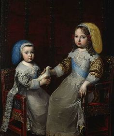 Charles Beaubrun Portrait of Louis XIV with his brother Philip I of Orléans, ca. 1642