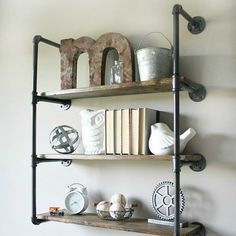 Learn how to make these Industrial Piping Shelves. Cool look for any space.