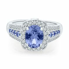 Oval Tanzanite & Diamond Ring in Gold - Shop All Rings - Rings - Jewelry - Helzberg Diamonds Blue Rings, White Gold Rings, Titanic Jewelry, Peridot Stone, Jewelry Armoire, Diamond Engagement Rings, Diamond Jewelry, Vintage Jewelry, Jewels