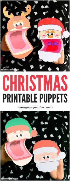 Printable Christmas Puppets for Kids. A fun Christmas craft for kids to make and play with. #Christmascraftsforkids #Papercraftsforkids #christmas #craftsforkids