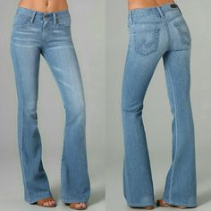 """AG Adriano Goldshmeid The Farrah 70's Bell Bottom Great and hip pair of """"it"""" jeans in perfect condition! Barely worn. So so soft. Sold out everywhere.   These flare jeans feature 4-pocket styling and a single-button closure. Logo stitching at back pockets and whiskering at front. Mild distressing. 22"""" leg opening.  * 9.5"""" rise. 34"""" inseam. * Fabrication: Super-stretch denim. * 30% cotton/45% rayon/25% polyester. * Wash cold. * Made in the USA. AG Adriano Goldschmied Jeans Flare & Wide Leg"""
