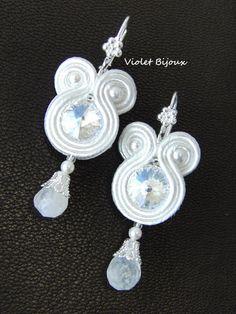 Beautiful white wedding soutache earrings by Violetbijoux on Etsy, $39.00