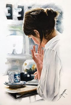 """Painting, """"Coffee and a book"""" Saatchi Art Artist Jon Crocker; Painting, """"Coffee and a book"""" & Fotografie Saatchi Art Artist Jon Crocker; Painting, """"Coffee and a book"""". Foto Cartoon, Cartoon Art, Watercolor Portraits, Watercolor Paintings, Artist Painting, Artist Art, Book And Coffee, Coffee Girl, Coffee Coffee"""