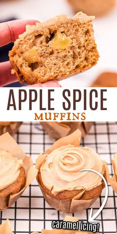 Apple Spice Muffins make morning coffee even better! Topped with a dreamy caramel glaze, these moist muffins have hints of cinnamon and are packed with apples. Best Dessert Recipes, Sweets Recipes, Sweet Desserts, Holiday Desserts, Apple Recipes, Fall Recipes, Baking Recipes, Snack Recipes, Apple Desserts