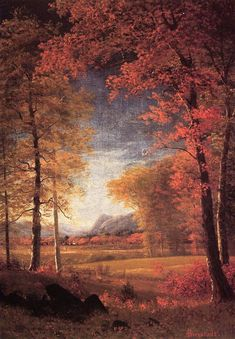 Albert Bierstadt Autumn in America Oneida County New York painting is available for sale; this Albert Bierstadt Autumn in America Oneida County New York art Painting is at a discount of off. Landscape Art, Landscape Paintings, Oil Paintings, Albert Bierstadt Paintings, New York Painting, Munier, Hudson River School, River Painting, Autumn Painting