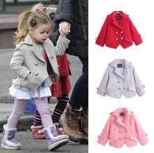 Ücretsiz nakliye kızlar giysi ceket yeni 2014 sonbahar kış İngiliz stil turn down çocuk kabanlar kız yün ceket takım elbise 2 ~ 7age(China (Mainland))