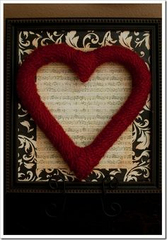 Heart Shaped Foam piece wrapped in red yarn! This girl's blog is so interesting. ALL of her ideas are doable and not horribly expensive! Pin leads you back to Pearl's Handcuffs, & Happy Hour!