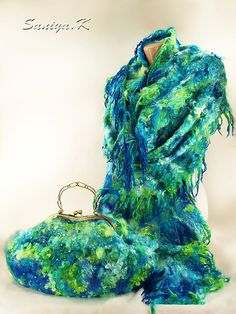 """Сумка & шарф """"Ривьера"""" оригинальный бирюзовый - сумка,шарф,оригинал,оригинальная сумка"""