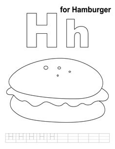 H For Hamburger Coloring Page With Handwriting Practice