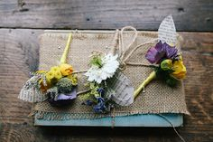 "Yellow Purple Twine Buttonholes with book page ""leaves"""