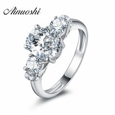 AINOUSHI 2017 Prong Set Triple Stone Ring 925 Silver SONA Anniversary Engagement Ring Best Wedding Lover Promise Gift #Affiliate