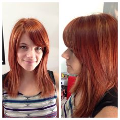 Coppery red with strawberry blonde hilites work by #JoLsalon