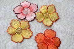 2 Stück Spitze Appliques bestickt Blumen Patches für von POPOLace