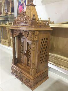 Mandir Design, Pooja Room Design, Wooden Door Design, Wooden Doors, Pooja Mandir, Temple Design, Puja Room, Prayer Room, Hindu Temple