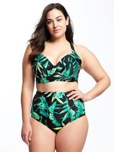 acce17a26ef Long-Line Plus-Size Underwire Bikini Top | Old Navy Plus Size Bikini Bottoms