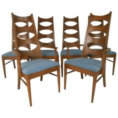 Six Mid-Century Dining Chairs | From a unique collection of antique and modern dining room chairs at https://www.1stdibs.com/furniture/seating/dining-room-chairs/