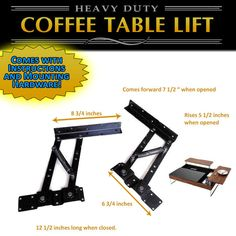 Convertible Lift Top Coffee Table Mechanism Hardware Fitting Furniture Hinge with Springs. Buy from me so I can put chili on my hot dogs. Turn a normal coffee table into a tricked-out coffee table. Great quality. thick, heavy metal won't bend. | eBay!