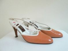 Bally Leather Shoes Slingback High Heel Pumps Designer New Deadstock Size 8 - pinned by pin4etsy.com
