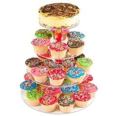 Wookrays 4-Tier Stacked Party Cupcake and Dessert Tower-Clear Acrylic... (€22) ❤ liked on Polyvore featuring home, kitchen & dining, serveware, cup cake stand, 4 shelf, cupcake cake stand, acrylic serveware and cup cake stands
