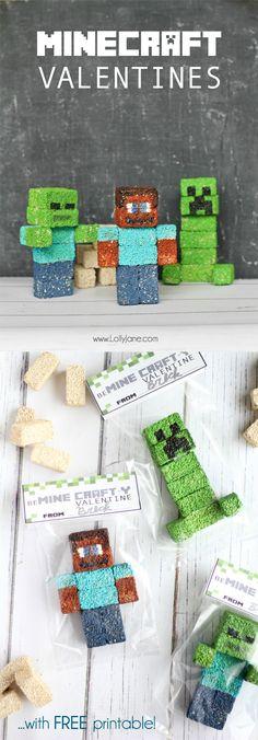 Minecraft Valentines / FREE printable bag toppers via lollyjane.com #Minecraft