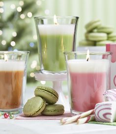 Just Desserts by PartyLite. Available in 3 yummy fragrances! Get your taste buds tingling! Lemon Lime Macaroon, Apple Strudel and Marshmallow Peppermint! #partylite #candles #decoration #cocktails #drinkit