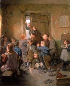 """Barred Out"". Ralph Hedley (1848 – 1913). English painter."