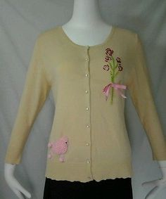 Anthropologie Charlotte Tarantola Cardigan Sweater Poodle  Bling Lace XL fits S