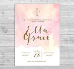 Girl First Communion Invitation PRINTABLE by WLAZdesignSHOP