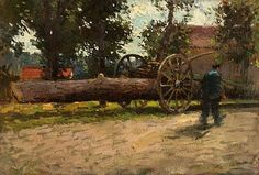 """""""Logger in Brittany,"""" Paul Cornoyer, oil on canvas, 16 x private collection. Hydrangea Bush, Brittany France, Antique Lighting, Painters, Blue Flowers, Oil On Canvas, American, Collection, Beautiful"""