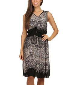Look at this Black & Gray Paisley V-Neck Dress on #zulily today!