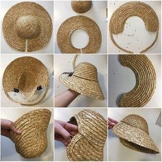 bonnet from a cheap straw hat! bonnet from a cheap straw hat! Millinery Hats, Fascinator Hats, Barbie Outfits, Barbie Clothes, Baby Hut, Diy Hat, Diy Straw Hat, Victorian Hats, Hat Tutorial
