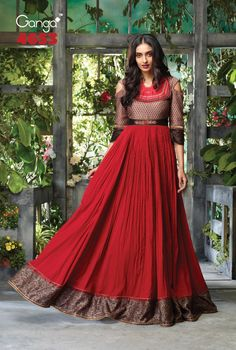 Rose Red With Light Coffee Cotton Digital Print and Chanderi Dyed for Yok, Embroidery and Hand Work Top with Latkan and Ready Lace Anarkali Style Designer Kurtis Lace Anarkali, Silk Anarkali Suits, Long Gown Dress, Frock Dress, Ethnic Wear Designer, Ethnic Design, Buy Salwar Kameez Online, Ethnic Gown, Fancy Gowns