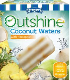 Edys Brand Outshine coconut waters/ Palapa Azul Coconut/Nestle & Cream/Creamsicle 100 calories/Fruitful, WW Giant Sorbet & Ice cream are best in the fruit and cream bar category for summer novelty treat. Frozen Fruit Bars, Frozen Treats, Nestle Cream, Fruit Popsicles, Coconut Popsicles, Icebox Desserts, Sorbet Ice Cream, Yogurt Bar, Pineapple Fruit