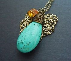 Wire Wrapped Necklace Turquoise Pendant Vintage by VivaRevival